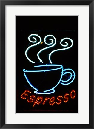 Framed Glowing Neon Sign of an Espresso Coffee Cup Print