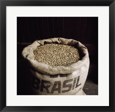 Framed Coffee Beans in a Burlap Sack Print