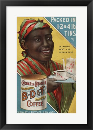 Framed Carhart & Brother Celebrated B-D & T Roasted Coffee Print