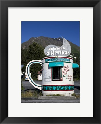 Framed Espresso Simpatico Coffee Shop, Seward, Alaska Print