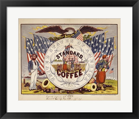 Framed United States of America, our standard coffee Print