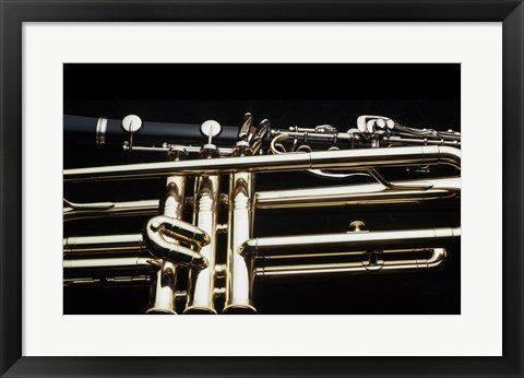 Framed Close - up of a Clarinet and a Trumpet Print
