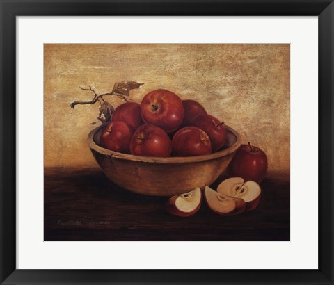 Framed Apples in Wood Bowl Print