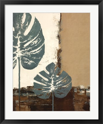 Framed Blue Leaves I Print