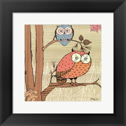 Framed Pastel Owls I - mini Print
