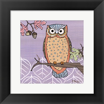 Framed Pastel Owls II - mini Print