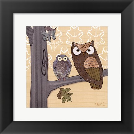 Framed Pastel Owls IV - mini Print