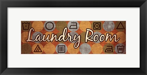 Framed Laundry Symbols Panel I - mini Print
