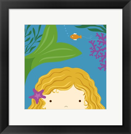 Framed Peek-A-Boo Mermaid Print