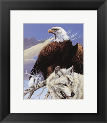 Framed Eagle and Wolf Print