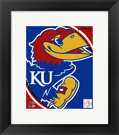 Framed University of Kansas Jayhawks Team Logo Print