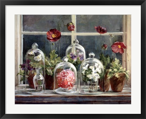 Framed Purple Poppies Windowsill Print