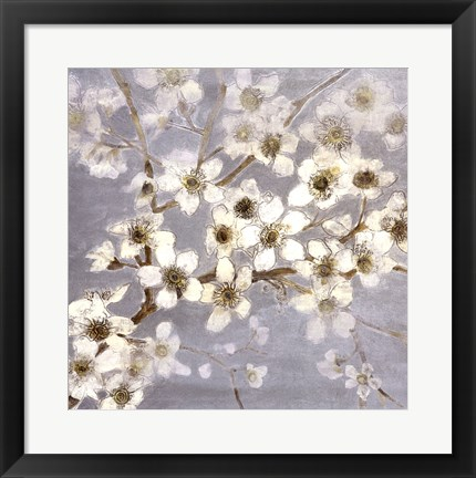 Framed Silver Blossoms II Print