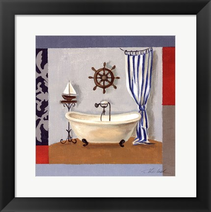 Framed Nautical Bath II Print