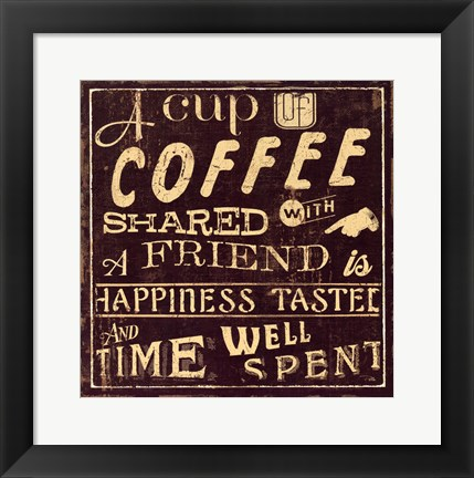 Framed Coffee Quote I Print