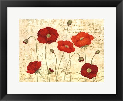 Framed Poppies In Bloom Print