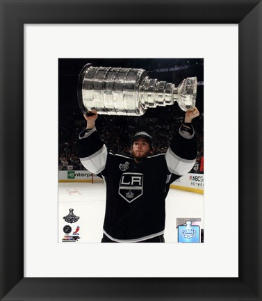 Framed Jonathan Quick with the Stanley Cup Trophy after Winning Game 6 of the 2012 Stanley Cup Finals Print