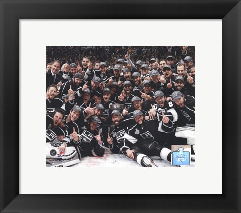 Framed Los Angeles Kings Team Celebration on ice after Winning Game 6 of the 2012 Stanley Cup Finals Print