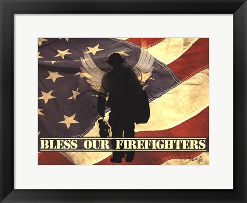 Framed Bless Our Firefighters Print