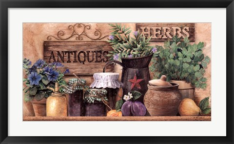Framed Antiques And Herbs Print