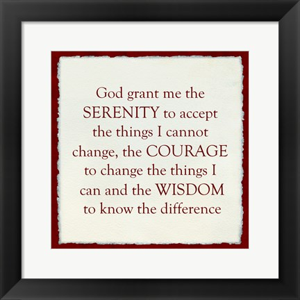 Framed Serenity Prayer - red frame Print