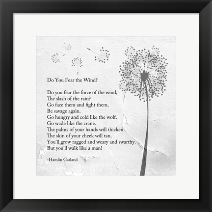 Framed Hamlin Garland - Do You Fear the Wind Print