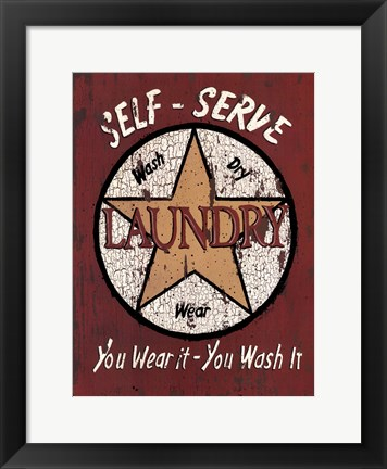 Framed Self Serve Laundry Print