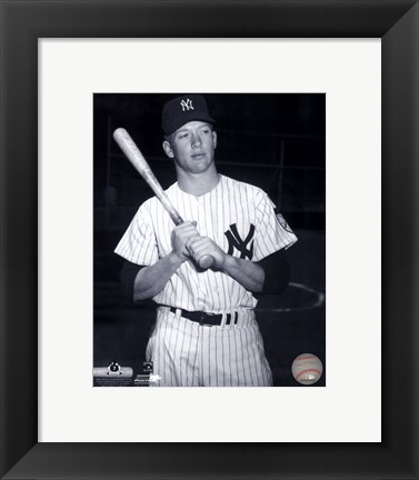 Framed Mickey Mantle Posed Black And White Print