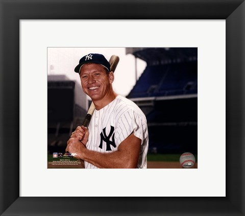 Framed Mickey Mantle Posed With Bat Print