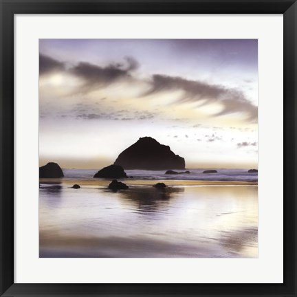 Framed Twilight On The Coastline Print