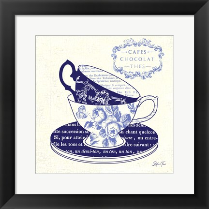 Framed Blue Cups II Print
