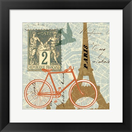 Framed Postcard from Paris Collage Print