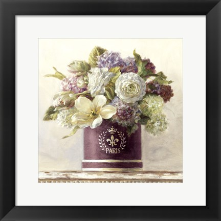 Framed Tulips in Aubergine Hatbox Print