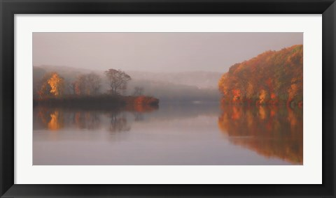 Framed Early Fall Morning at the Lake Print