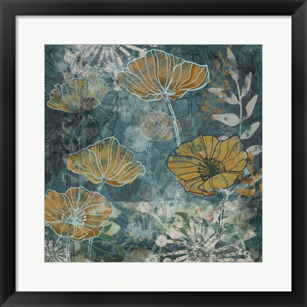 Framed Navy Poppies II Print