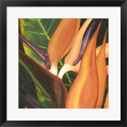 Framed Bird Of Paradise Tile I Print