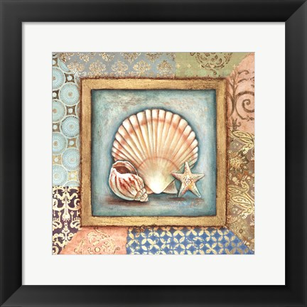 Framed Ocean Treasures Bath I Print