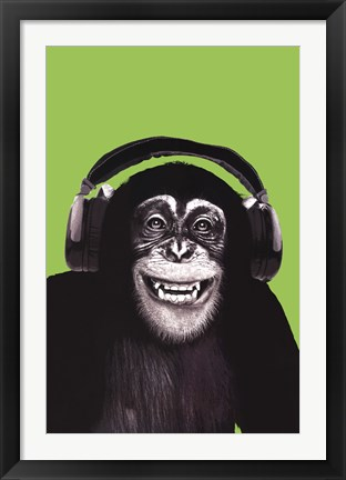 Framed Chimpanzee Headphones Print