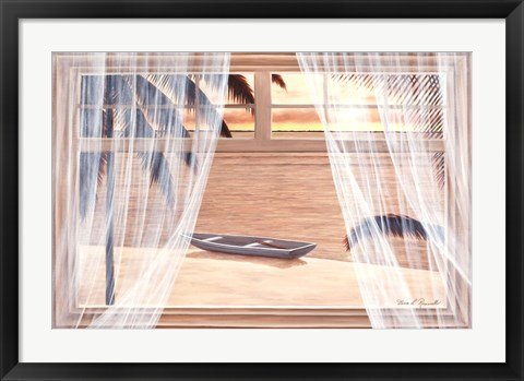 Framed Amber Palm Windows Print
