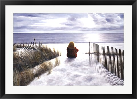 Framed Girl on Beach Print