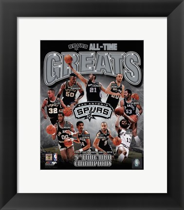 Framed San Antonio Spurs All-Time Greats Composite Print