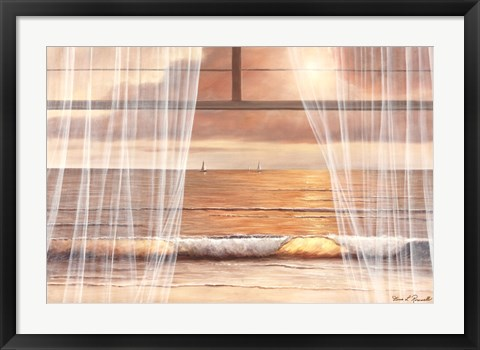 Framed View of the Sunset Through the Window Print