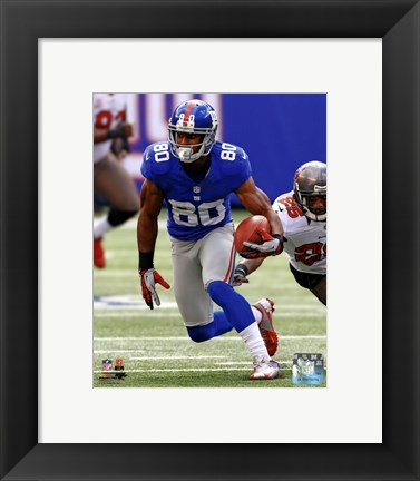 Framed Victor Cruz 2012 with the ball Print