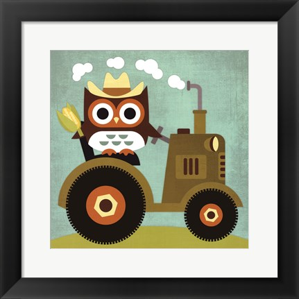 Framed Owl on Tractor Print