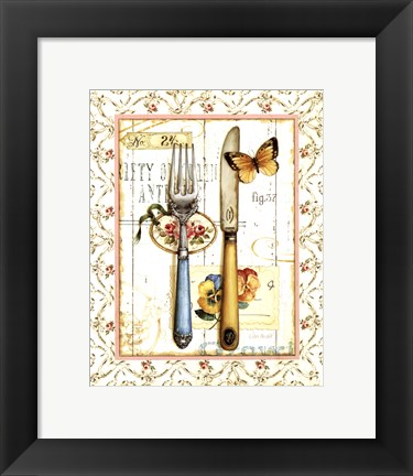 Framed Rose Garden Utensils I Print