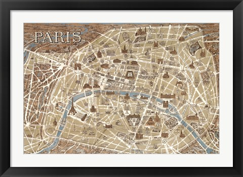Framed Monuments of Paris Map - Blue Print