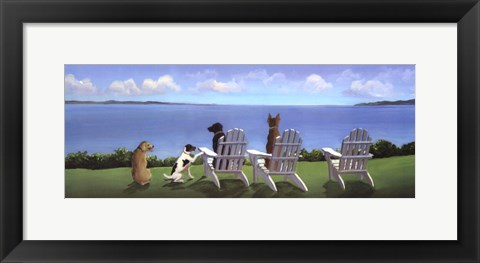 Framed Pups with a View Print
