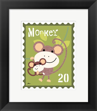 Framed Animal Stamps - Monkey Print