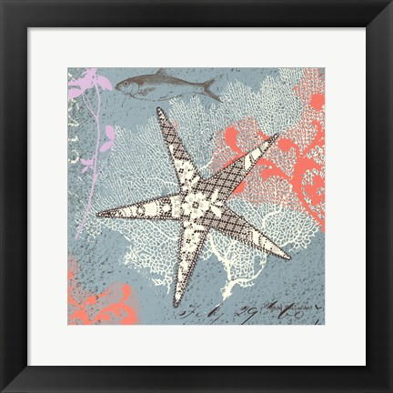 Framed Starfish on Aqua Print