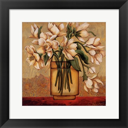 Framed White Autumn Magnolias Print